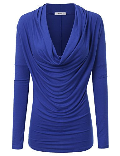 (Doublju Soft Knit Cowl Neck Blouse Top for Women with Plus Size (Made in USA) Royal Small)