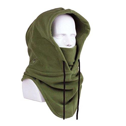 Hot Men Women Winter Warm Windproof Balaclava Outdoor Sports Mask Multifunction Thermal Fleece Ski Mask Scarf Hood Double Layer Thicken Full Face and Neck Cover Warmer Sports Neckwear Headwear Green