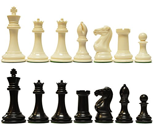 - Marion's Quadruple Weighted Value Chess Set in Black & Ivory - 4 inch King