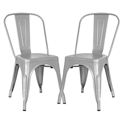 Poly and Bark Tolix Style Bistro A Dining Side Chair, Grey (Set of 2)