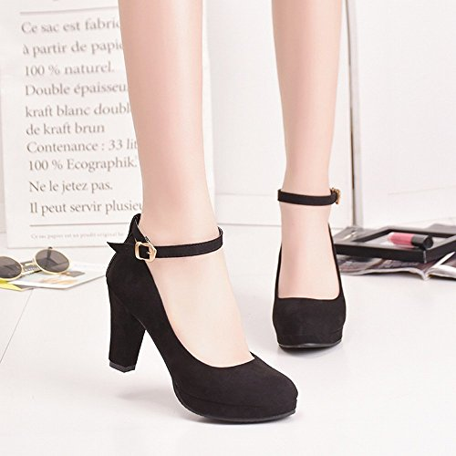 Redonda Altos Etiqueta Áspera Zapatos de de con 37 de Impermeable CXY Gamuza Tacones Deducción de nbsp;Segundo Plataforma de Alto Tacón Dulce Zapatos wvfPx8Xq