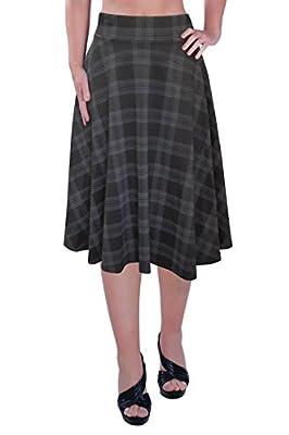 Womens Plus Size Tartan Check Print Knee Length Skirt
