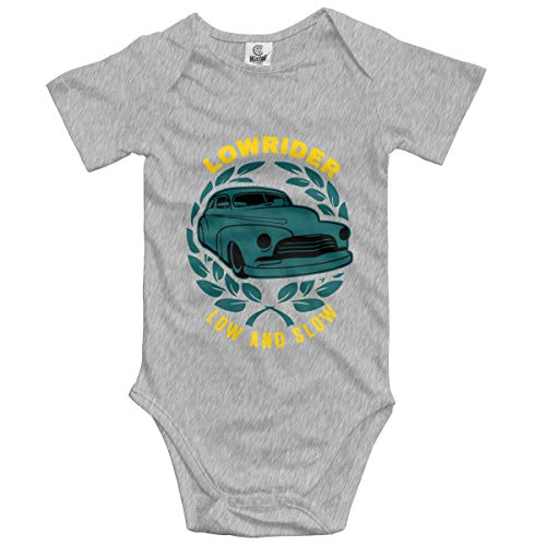 Lowrider Low and Slow Infant Short-Sleeve Bodysuit for Baby Girls Gray