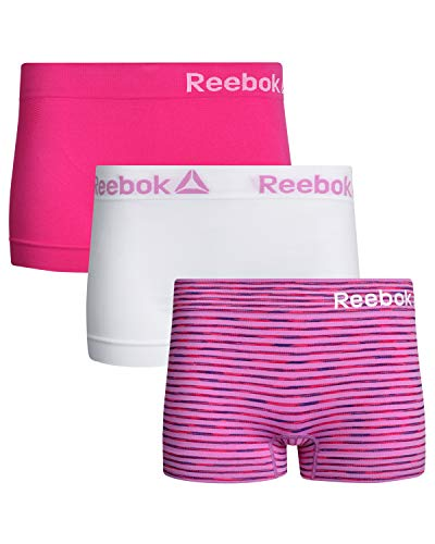 - Reebok Womens 3 Pack Seamless Boyshort, Purple Stripe/Purple Solid/White, Size Large'