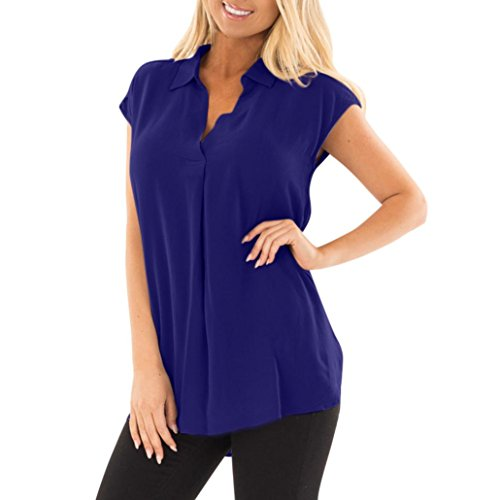 Plus Size Casual Chiffon Tank Top,Clearance! AgrinTol Women Sleeveless V-Neck Pleated Ruffled Loose Vest (2XL, Blue)