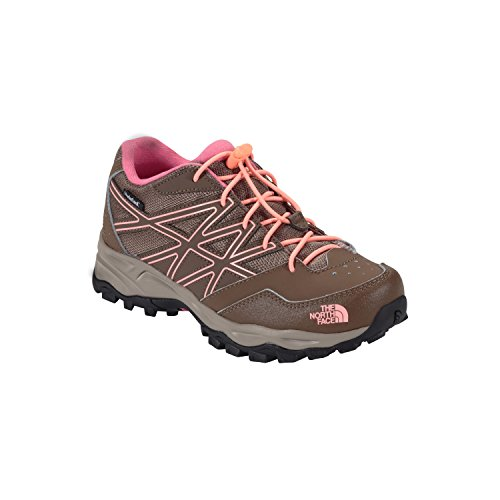 The North Face Youth Hedgehog Hiker Water Proof Hiking Shoe Cub Brown/Neon Peach Size 1.5 M US