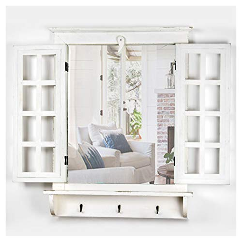 Crystal Art Window Shutter Vanity Wall Mirror W/Key Hooks-Rustic Country Farmhouse Décor, ()