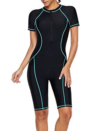 GOSOPIN Women Zip Front Color Block Short Sleeve One Piece Swimsuit Swimwear Rash Guard Beach Wear