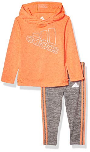 adidas Baby Girls Long Sleeve Hooded Top and Legging Set, Coral, 12M (Orange Adidas Baby)