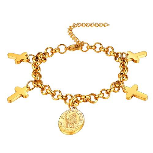 FaithHeart Saint Christopher Bracelet Gold Plated Catholic Patron Saint Medal Pendant Jewelry, Best Blessings Gift Customize Available (Send Gift Box)