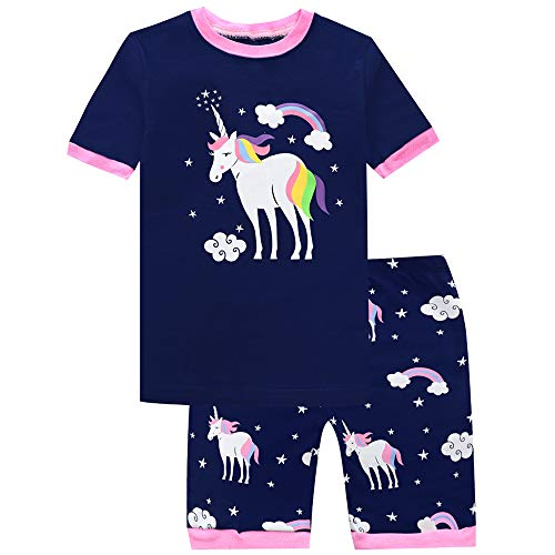 Girls Pajamas Unicorn Shorts Sets Kids Pjs 100% Cotton Summer Toddler Clothes Sleepwear - Girls Pjs