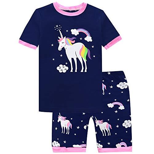 Girls Pajamas Unicorn Shorts Sets Kids Pjs 100% Cotton Summer Toddler Clothes Sleepwear 6T