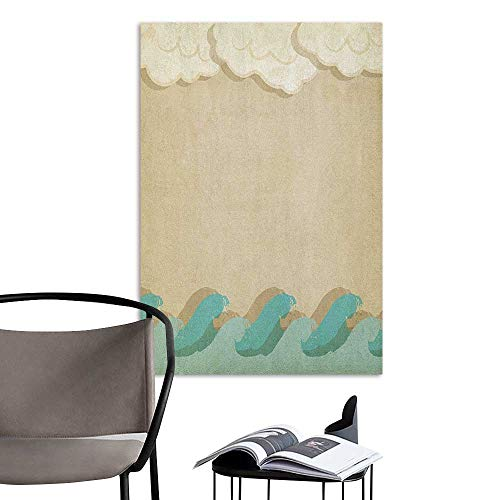 Williasm Poster Sticker Ocean Waves and Clouds Grunge Vintage Design Water Silhouette Nautical Theme Sand Brown Cream Seafoam School Dormitory Classroom W24 x -