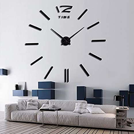 Amazon.com: Batop 3D Real Big Wall Clock Rushed Mirror Wall Sticker - DIY Living Room Home Decor - Fashion Watches Arrival Quartz Wall Clocks (Black) ...