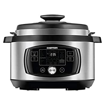 Image of Chefman Multi-Function Oval Pressure Cooker 8 Quart Extra Large Programmable Multicooker, 18 Presets to Slow Cook, Sauté, Steam, Sear, Nonstick Pot, Accessories & Recipe Book Included, Stainless Steel