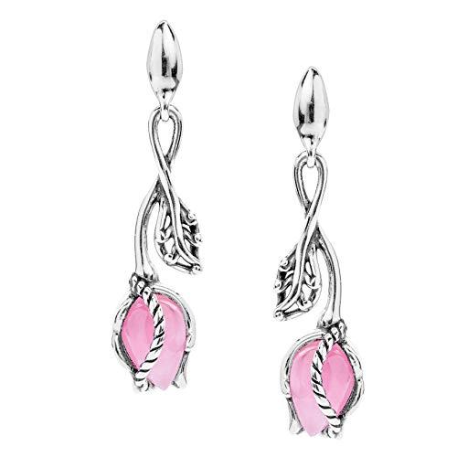 Carolyn Pollack Sterling Silver Pink Jade Rosebud Dangle Earrings