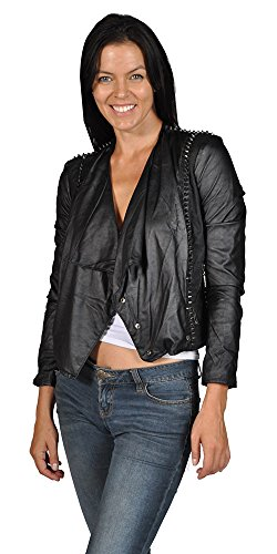 Leather Jacket Spikes ([BLANKNYC] Blank NYC Womens Punk Spike Faux Leather Motorcycle Jacket)