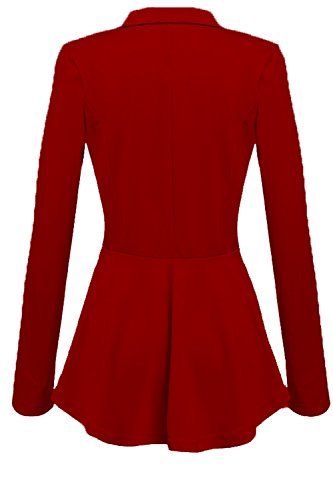 De Breasted Blazer Manga Red Larga Swing Double Las Mujeres Eleagnt De Chaquetas Lapel wAq0qBpgx
