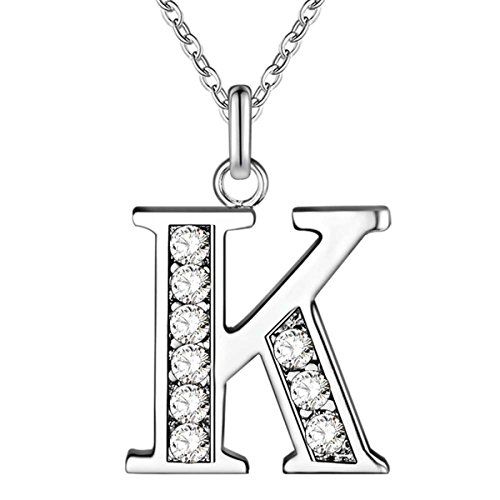 COMISAN Capital 26 Letters S925 Sterling Silver Cubic Zirconia Plated Alphabet Personalized Charm Pendant Necklace for Women (K) (Jewelry Necklace Monogram)