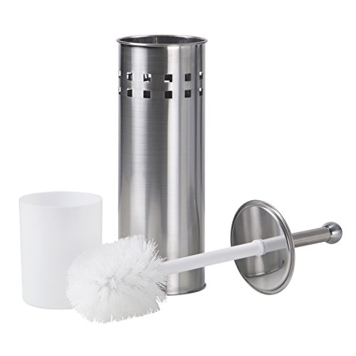 Richards Homewares Toilet Brush with Holder  Vented Bathroom Cleaning Brush with Matching Stand  Satin Nickel