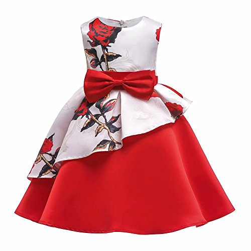 AYOMIS Litter Big Girl Flower Dress Princess Bow Party Wedding Tutu Gowns(Flower-Red,3-4Y) for $<!--$12.99-->