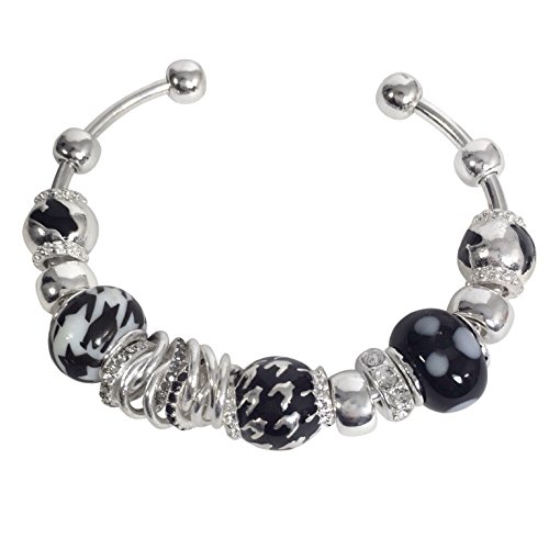 (Gypsy Jewels Houndstooth Print Designer Look Silver Tone Cuff Bracelet Alabama Roll Tide Pride (Black))