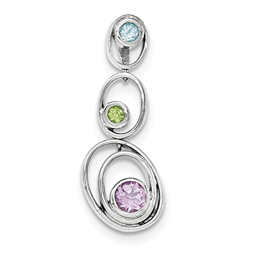 - ICE CARATS 925 Sterling Silver Green Peridot Blue Topaz Purple Amethyst Pendant Charm Necklace Gemstone Fine Jewelry Ideal Gifts For Women Gift Set From Heart