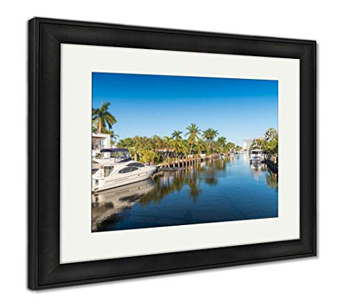 - Ashley Framed Prints Fort Lauderdale Florida Beautiful View of City Canals, Wall Art Home Decoration, Color, 26x30 (Frame Size), Black Frame, AG6141136