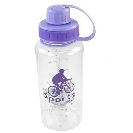 eDealMax Patrón deportista montar en Bicicleta Botella de agua 750ML Clara púrpura