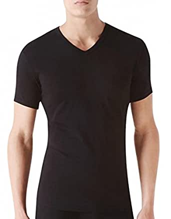 Calvin Klein Men's Cotton Stretch V-Neck T-Shirt - 2 Pack, Black, Small