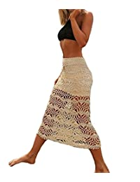 WenHong Women's Swimsuit Cover up Knit Crochet Maxi Skirt Beachwear Swimwear