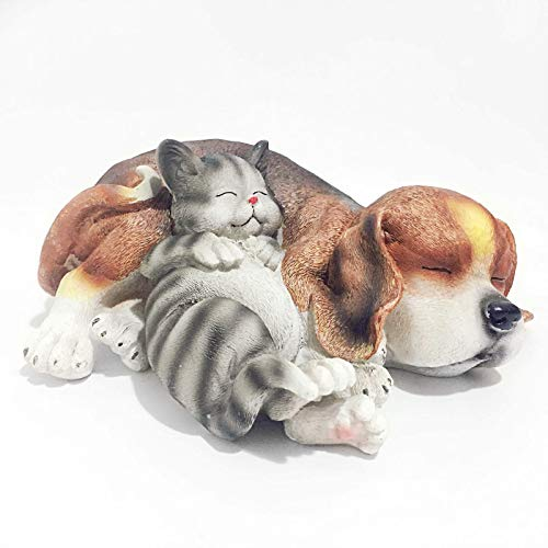 Posee Resin Outdoor Animal Decoration Sleeping Lazy Cat Dog Garden Statue