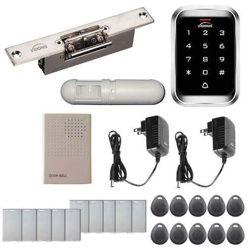 Visionis FPC-5469 One Door Access Control 1,100lbs Electric Strike Fail Safe for Glass Doors with VIS-3000 Outdoor IP68 Keypad/Reader EM and Mifare Compatible Standalone no software 2000 Users PIR Kit