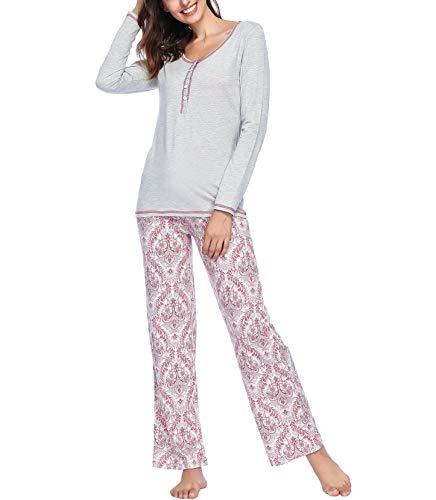 Ink+Ivy Long Sleeve Pajamas for Women, Ladies Soft Lounge Wear Pajama Set Sweet Dreams Blush L Large