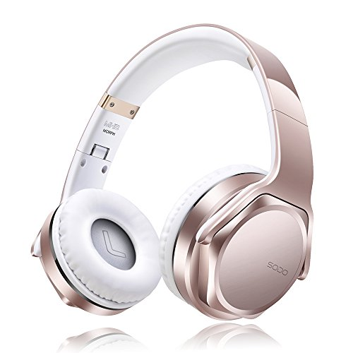 Bluetooth Headphones Over Ear Cordless Stereo Wireless Headphone Music Volume Control Speakers Overhead Retractable Sport Workout Headset with Microphone Radio Built in for iPhone Laptop (Rose Gold)