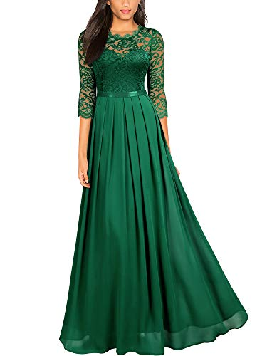 Miusol Women's Formal Floral Lace Wedding Bridesmaid Maxi Dress (X-Large, Dark Green)