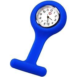 LE Nurses Brooch Silicone Rubber Tunic Fob Watch Blue