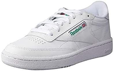 Reebok Men's Club C 85 Trainers, Intense White/Green, 4.5 US