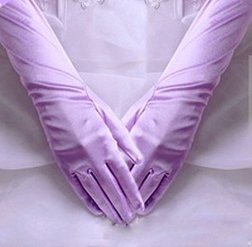 1 Pcs (1-Pair) Famous Popular Hots Long Satin Glove Stretch Elbow Smooth Silky Girl Prom Color Light (Satin Throttle Body)