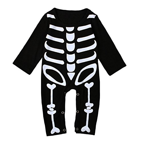 Baby Boys Girls Skeleton Rompers Toddler Kids Halloween Overall Costume (18-24M, (Halloween Costume All Black Clothes)