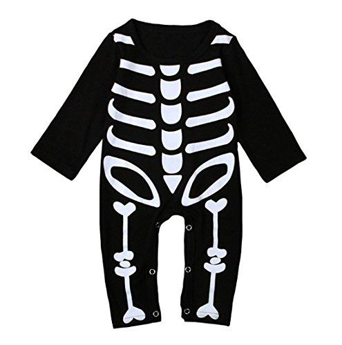 18m Halloween Costumes (Baby Boys Girls Skeleton Rompers Toddler Kids Halloween Overall Costume (12-18M, Black))