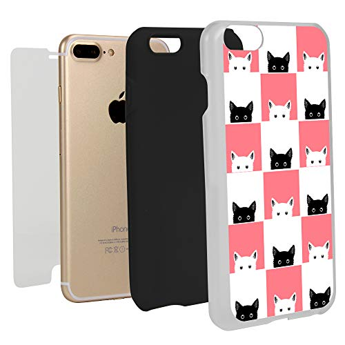 White Checkers Protector Case - Guard Dog Checkerboard Kitties Hybrid Phone Case for iPhone 7 Plus / 8 Plus with Guard Glass Screen Protector, White with Black Silicone