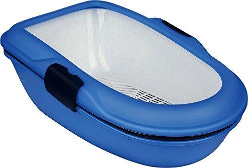 Trixie Baño para gatos Berto, 3 piezas con Sistema separación, 39x22x59cm, azul claro/topo/granito