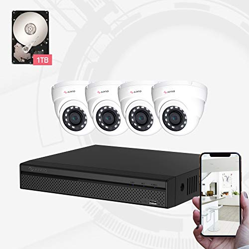 Dahua OEM Aivio 8CH Wired Security Surveillance System H.264+ 1080P DVR & 4PCs 1080P HD CCTV Camera System, 100ft Night Vision, Mobile Push Alert Remote Access, Outdoor IP67 Waterproof 1TB Hard Drive