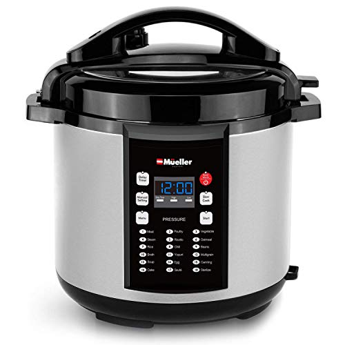 Mueller 9-in1 Pro Series 18 Smart Program Pressure Cooker | German ThermaV Even Heat Technology | 6Q/1000W Slow Cooker | Rice Cooker, Yogurt Maker, Cake Maker, Egg Cooker, Sauté, Steamer, Warmer