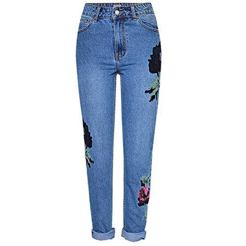 Droite Jeans Grande Pantalon Coupe Jeans Bleu Brod Taille Fleuri Boyfriend FuweiEncore Taille Femme Large Haute qF1zaX