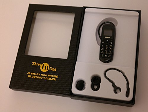 LONG-CZ J8 Unlock mini mobile phone Bluetooth dialer earphone 0.66 inch Single SIM card MP3 SMS Low radiation cell phones (Black) by LONG-CZ