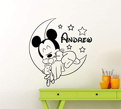 Oisiu Mickey Mouse Wall Sticker Decal Mickey Personalized Name Wall Stickers Kids Room Decor Wall Decal Cartoon Mouse Home Decor -