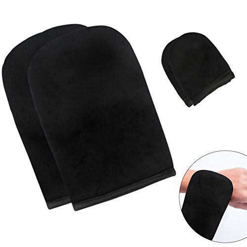 Applicator Soft Self Tanning Mitt with Mini Facial Finger Tan Gloves for Self Tanner Streak Free Sunless Face and Body Tanning Lotion Applicator Glove Kit(Double Sided Washable) 4 ()