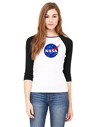 NASA Meatball Logo Ladies Baby Rib 3/4-Sleeve Contrast Raglan T-Shirt Space Shuttle Rocket Science Geek Women Tee (X-Large, White/Black)